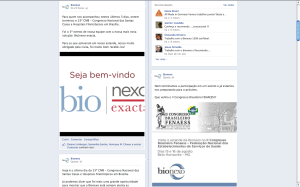Página da Bionexo no facebook, primeiro canal a receber tratamento.