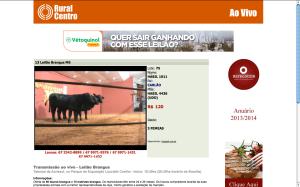 Publicidade da Vétoquinol durante o 13º Leilão Brangus MS na transmissão ao vivo da Rede Rural Centro.
